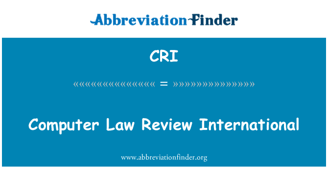 CRI: Computer Law Review International