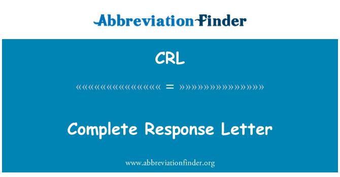 CRL: Complete Response Letter