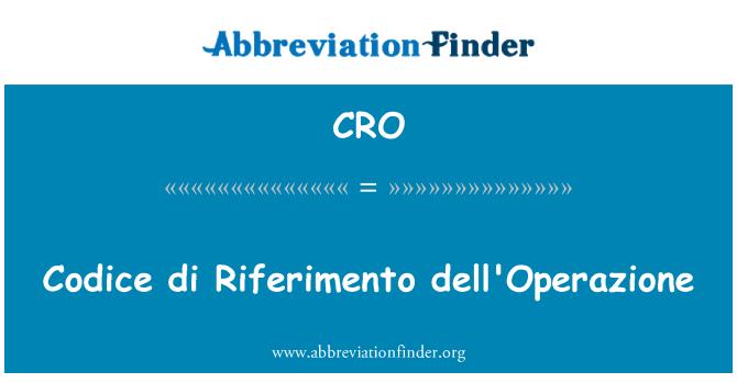 CRO: Codice di Riferimento dell'Operazione