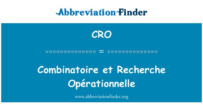 CRO: Combinatoire et Recherche Opérationnelle