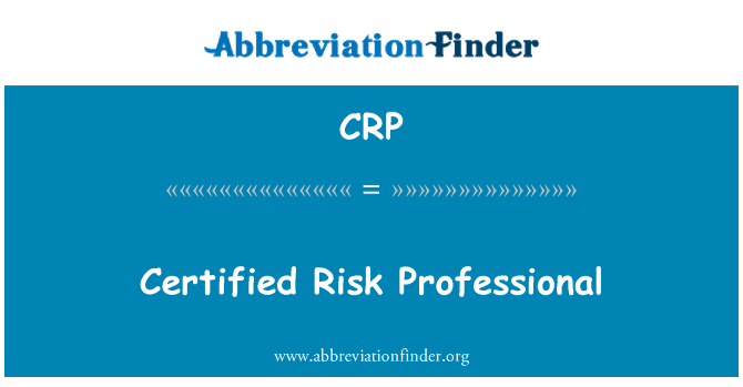 CRP: Certified Risk Professional