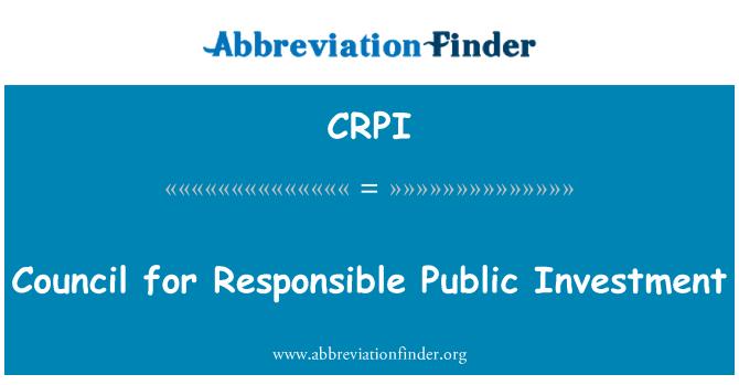 CRPI: Rada pro odpovědné veřejné investice