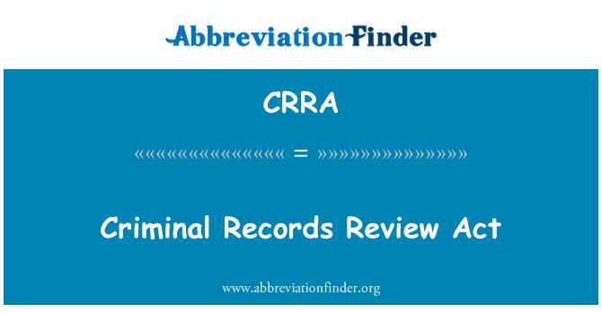 CRRA: Karistusregistri järelevalve seadus