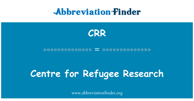 CRR: Centre for Refugee Research