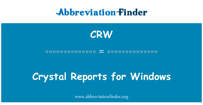 CRW: Crystal Reports for Windows