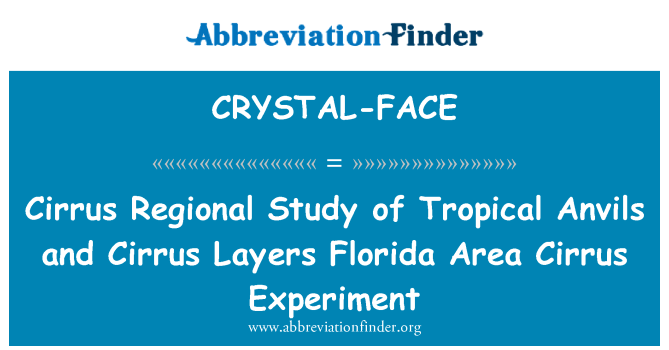 CRYSTAL-FACE: Cirrus Regional Study of Tropical Anvils and Cirrus Layers Florida Area Cirrus Experiment