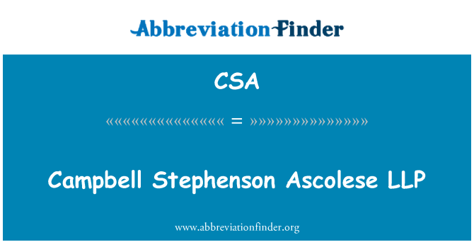 CSA: Campbell Stephenson Ascolese LLP