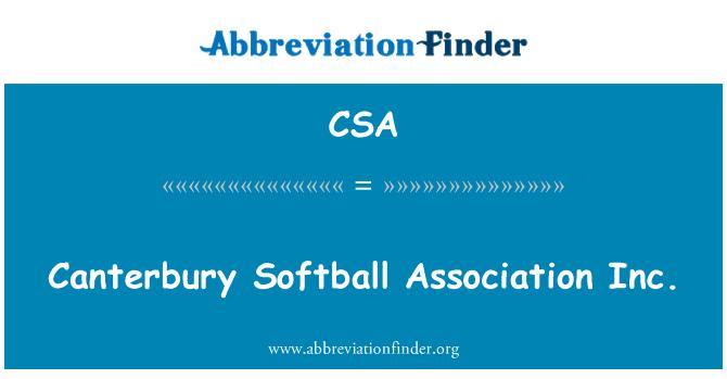 CSA: Canterbury Softball Association Inc.