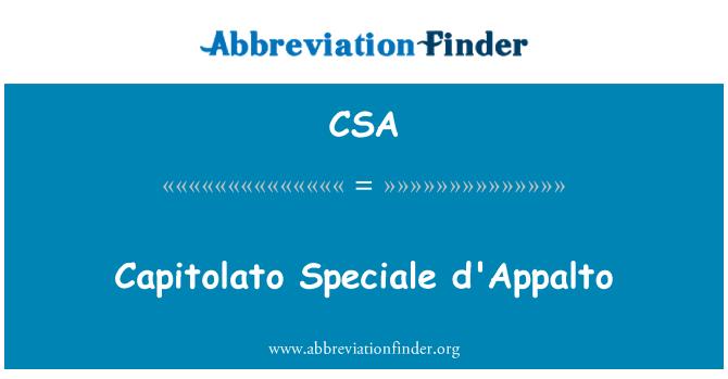 CSA: Capitolato Speciale d'Appalto