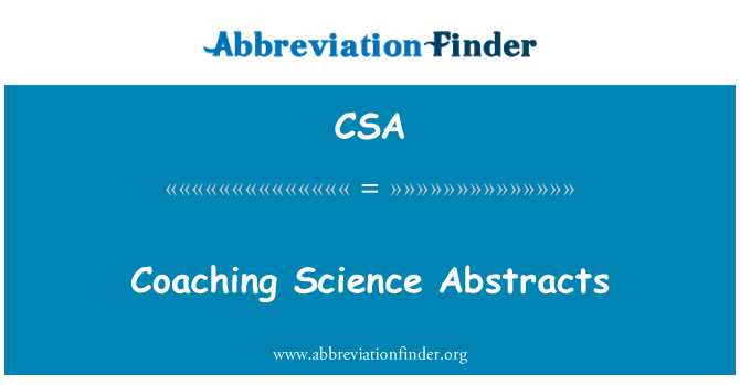 CSA: Coaching Science Abstracts