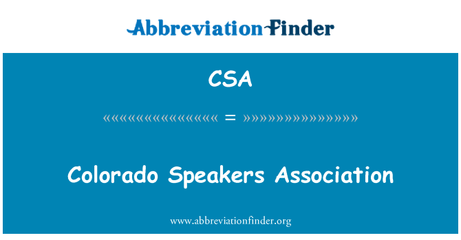 CSA: Colorado Speakers Association