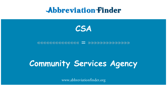 CSA: Community Services Agency