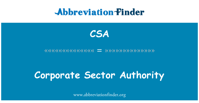 CSA: Corporate Sector Authority