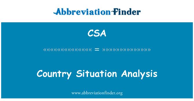 CSA: Country Situation Analysis