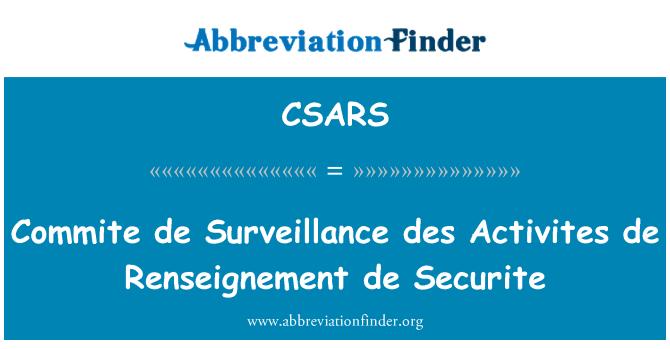 CSARS: Commite de gözetim des faaliyetleri de Renseignement de Securite