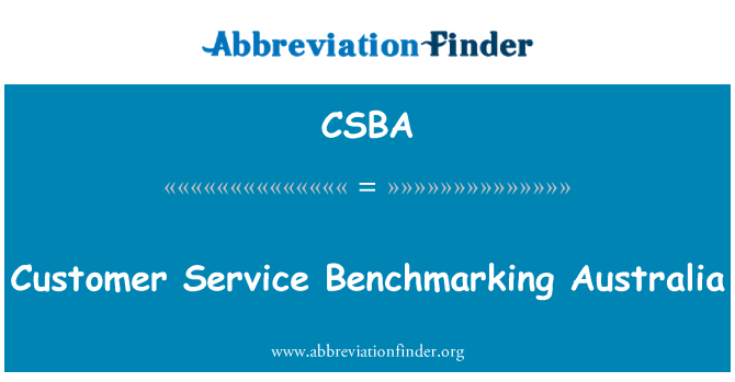 CSBA: Customer Service de Benchmarking Australia