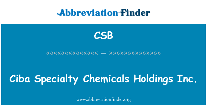 CSB: Ciba Specialty Chemicals Holdings Inc.