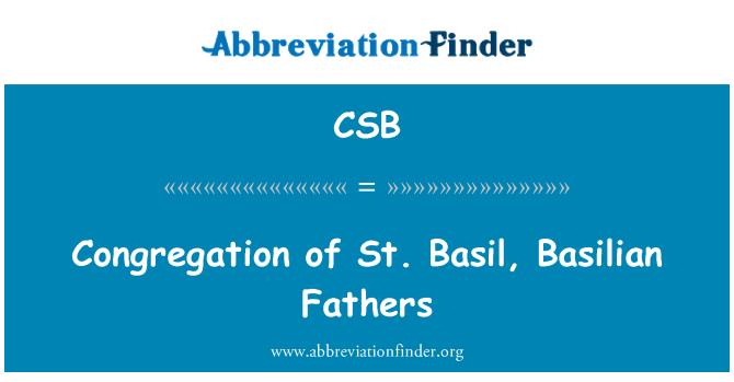 CSB: Congregation of St. Basil, Basilian Fathers