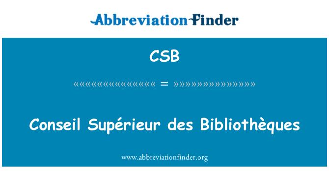 CSB: Conseil Supérieur des Bibliothèques