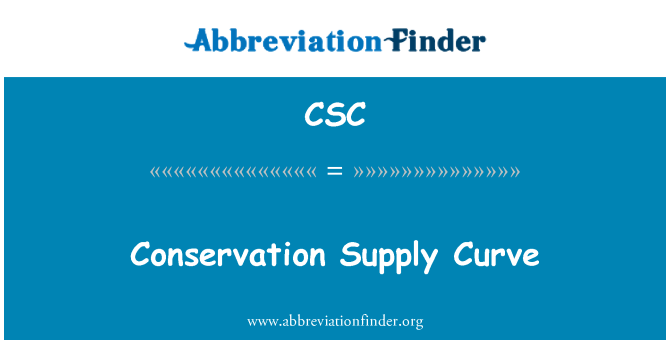 CSC: Conservation Supply Curve