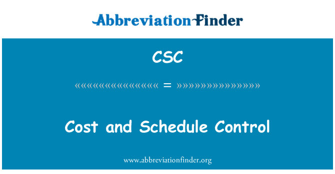 CSC: Cost and Schedule Control