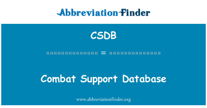 CSDB: Combat Support Database