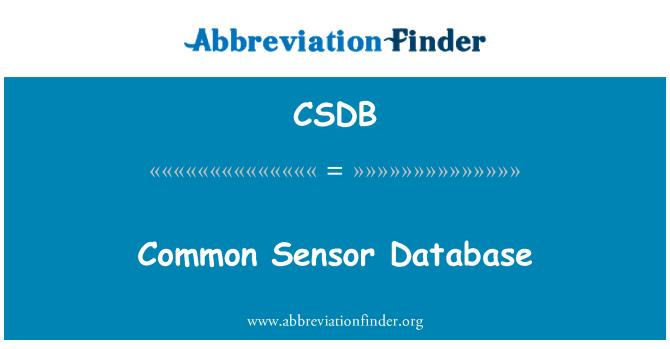 CSDB: Common Sensor Database