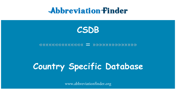 CSDB: Country Specific Database