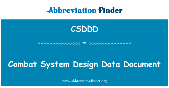 CSDDD: Combat System Design Data Document