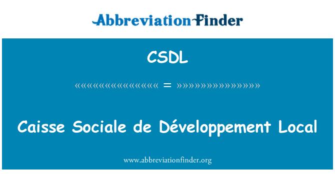 CSDL: Caisse Sociale de Développement Local
