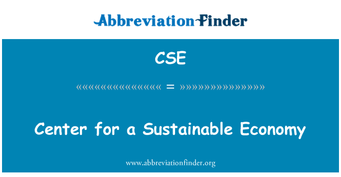 CSE: Center for a Sustainable Economy