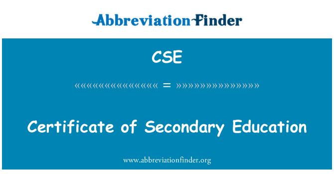 CSE: Certificate of Secondary Education