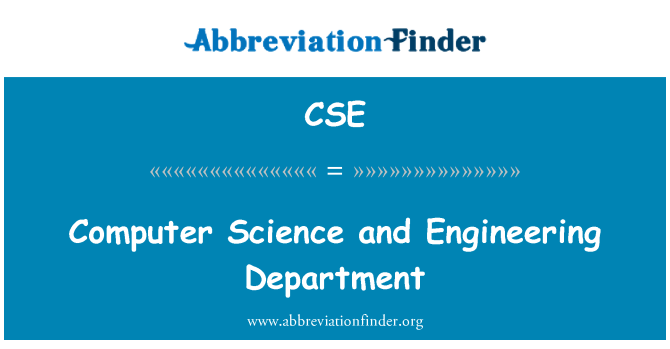 CSE: Computer Science and Engineering Department