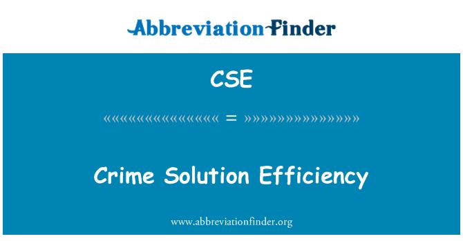 CSE: Crime Solution Efficiency