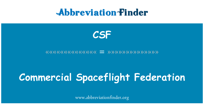 CSF: Commercial Spaceflight Federation