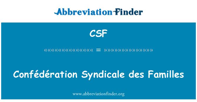 CSF: Confédération Syndicale des Familles
