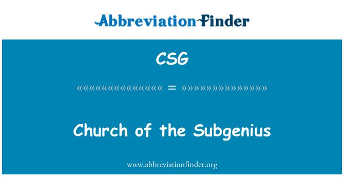 CSG: Church of the Subgenius
