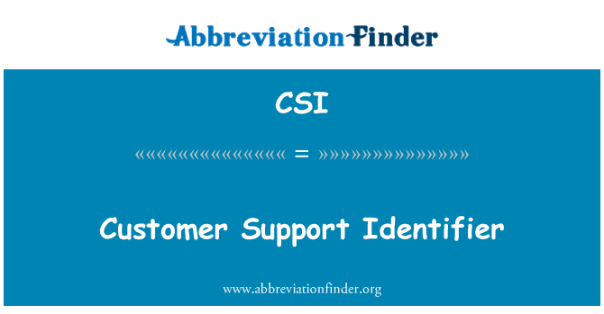 CSI: Customer Support Identifier