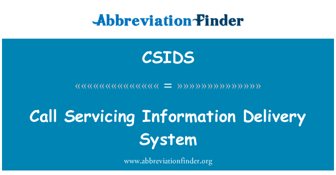 CSIDS: Call Servicing Information Delivery System