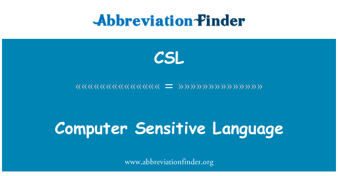 CSL: Computer Sensitive Language