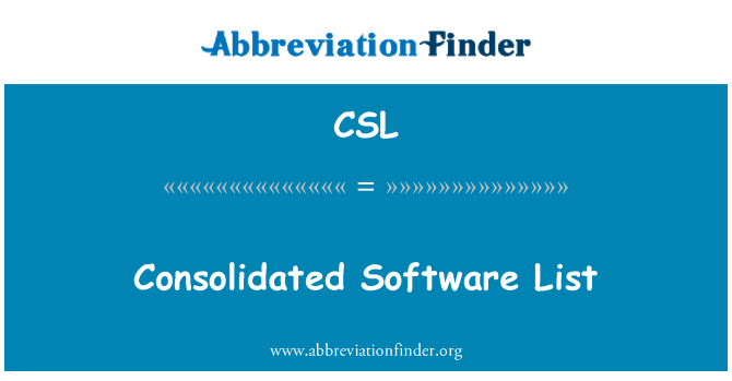CSL: Consolidated Software List