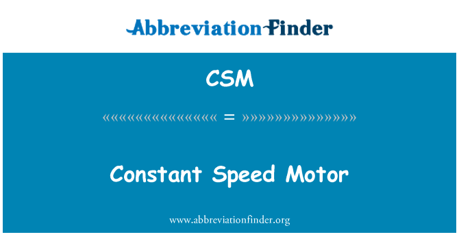 CSM: Constant Speed Motor