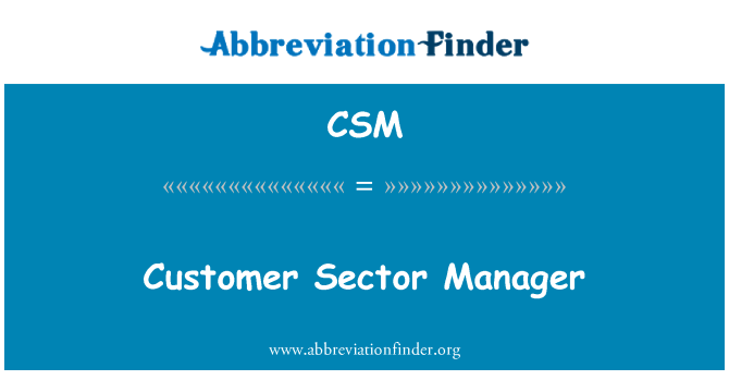 CSM: Customer Sector Manager