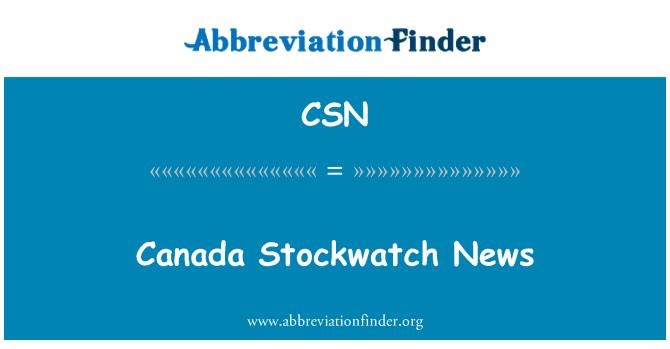 CSN: Canada Stockwatch News