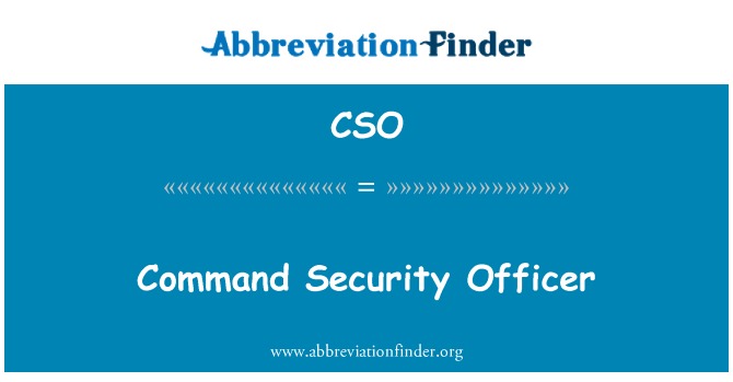 CSO: Command Security Officer