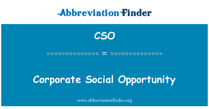 CSO: Corporate Social Opportunity