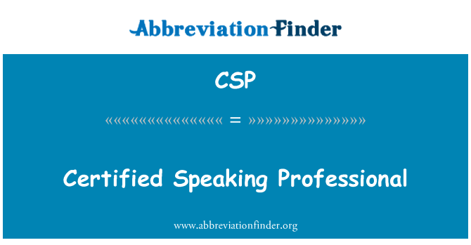 CSP: Certified Speaking Professional