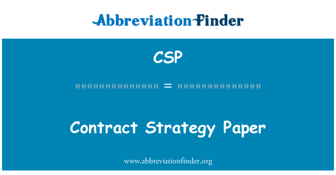 CSP: Contract Strategy Paper