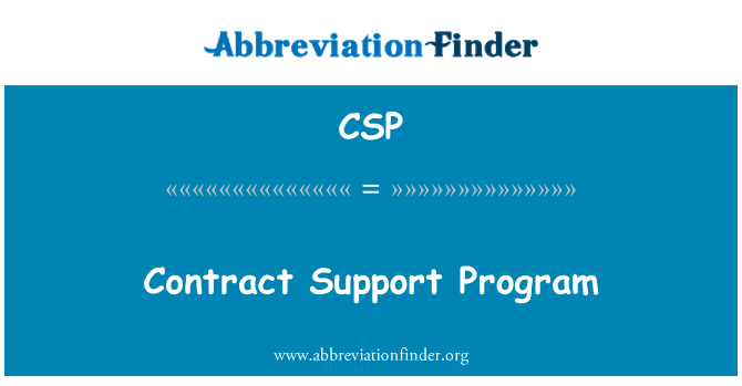 CSP: Contract Support Program