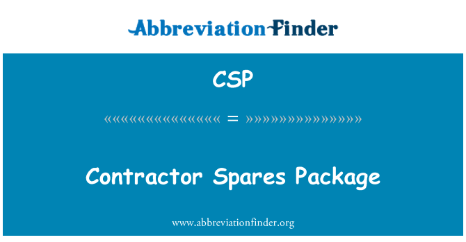 CSP: Contractor Spares Package